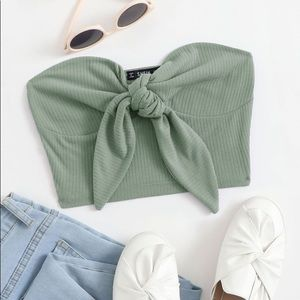 shein tie front rib-knit bustier tube top